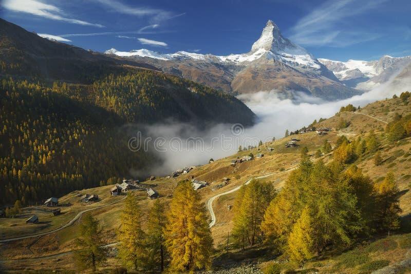 Matterhorn and Findeln. The Matterhorn stands above the hamlet of Findeln in Zermatt, Switzerland stock image