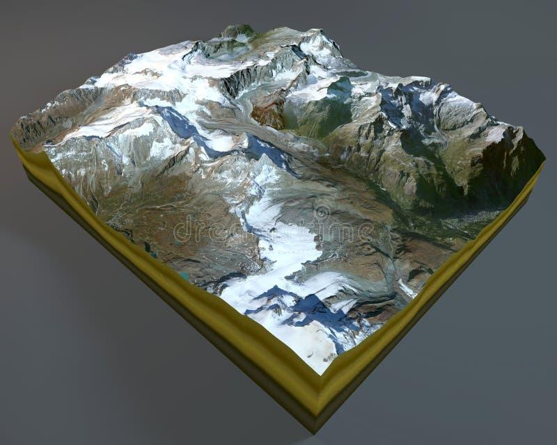 Matterhorn, góra, satelitarny widok, Alps, Włochy, Szwajcaria świadczenia 3 d royalty ilustracja
