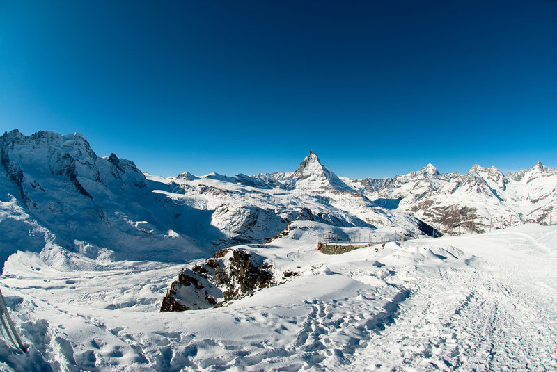 Matterhorn from gornergrat. Scenic view of Matterhorn from Gornergrat in Winter, Zermatt, Wallis, Switzerland stock image