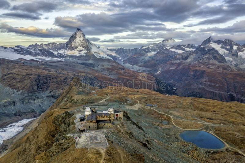 The Matterhorn and Gornergrat Observatory. The bird& x27;s eye view of the Matterhorn and the Gornergrat observatory in Zermatt of Switzerland stock photography