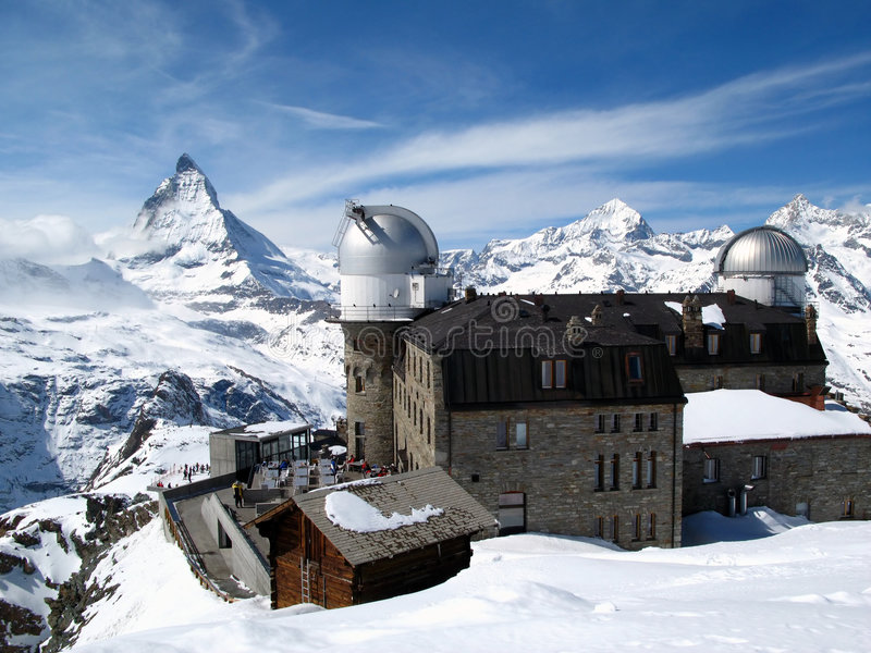 Matterhorn &Gornergrat Station. From the peak behind the Gornergrat Observatory (3089 m / 10138 ft) a breathtaking view of the most imposing mountain in Europe stock photography