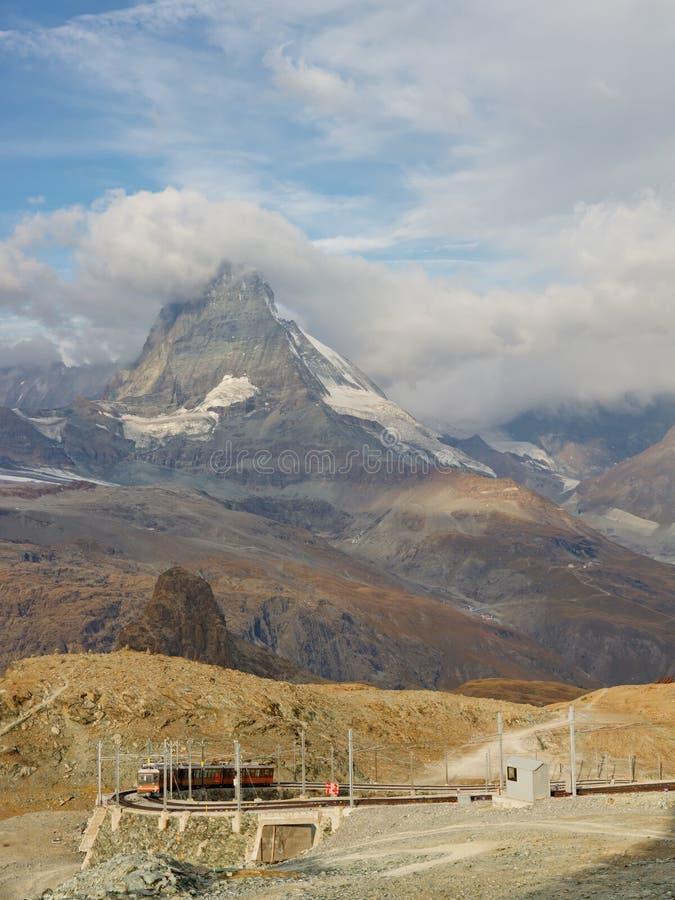 Matterhorn and Gornergratbahn stock image