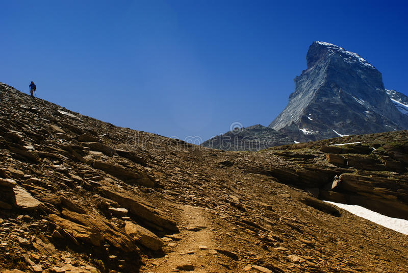 Download Matterhorn with man stock photo. Image of high, alpine - 23890334