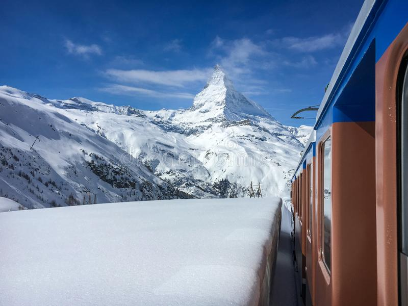 Matterhorn mountain and alpine landscape with Gornergrat railway. Matterhorn mountain and landscape of Swiss around Zermatt seen from driving Gornergrat railway stock image