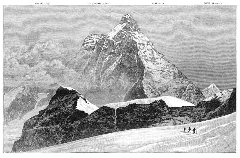 Matterhorn from near the Submit of Theodul Pass stock photo