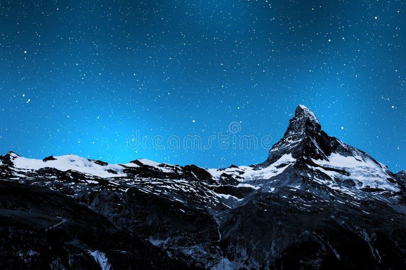 Matterhorn. In night sky - Swiss Alps royalty free stock images