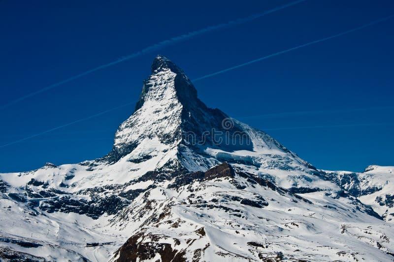 Matterhorn peak, logo of Toblerone chocolate. Located at Gornergrat in Switzerland stock photos