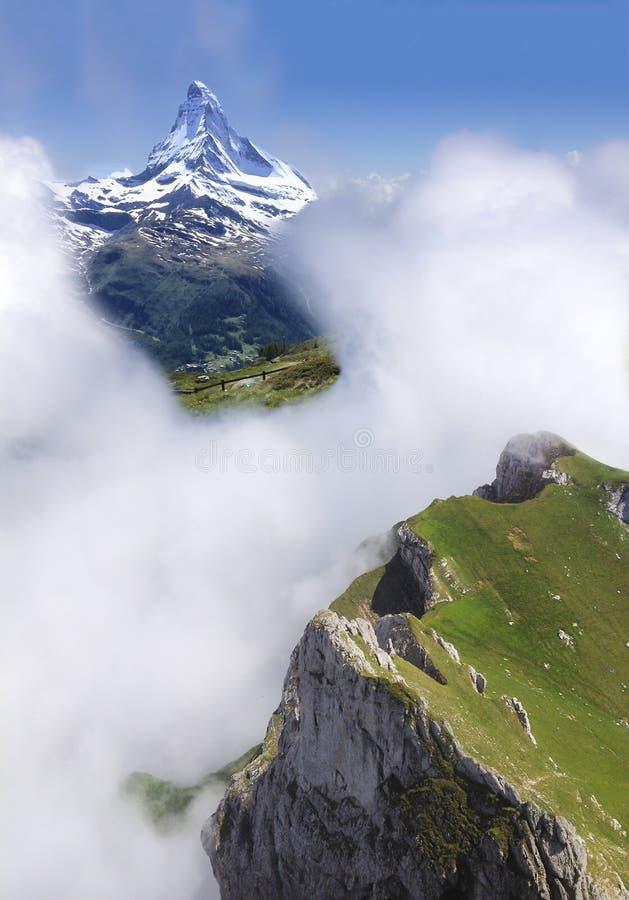 Matterhorn Peak Trekking in summer, Zermatt, Switzerland, Europe. Family Activities, Hiking in the wild concept.  stock photography