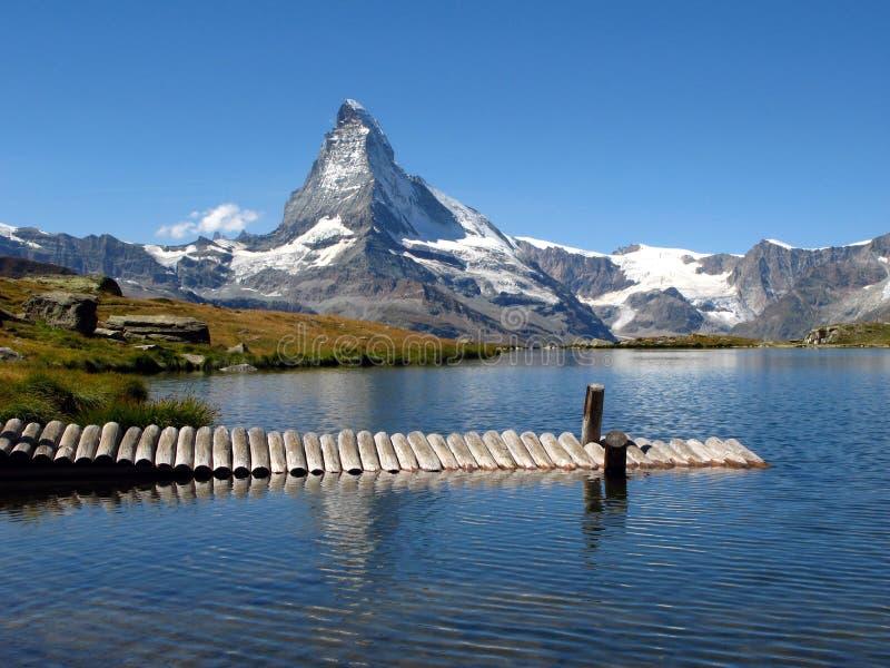 Matterhorn reflecting in Stellisee 04, Switzerland royalty free stock image
