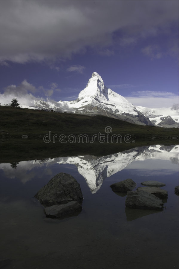 Matterhorn Reflection Portrait royalty free stock image