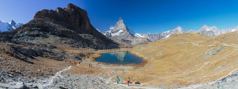 Matterhorn. In the Rifelsee lake, Zermatt royalty free stock photo