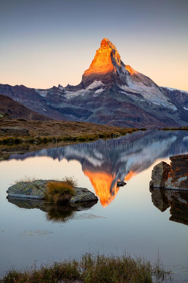 Matterhorn, Swiss Alps. Landscape image of Swiss Alps with Stellisee and Matterhorn in the background during sunrise stock image