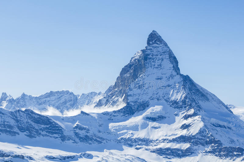 The Matterhorn in the Swiss Alps. Shot of the famous Matterhorn mountain, one of the highest peaks in Europe, and the mountain featured on Toblerone chocolate royalty free stock image