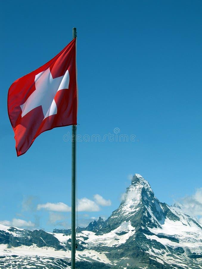 Matterhorn and Swiss Flag. From Gornergrat, Zermatt, Switzerland royalty free stock images