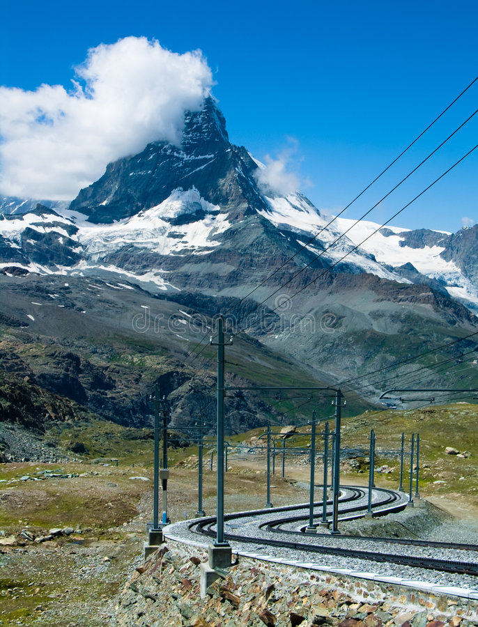 Matterhorn train line royalty free stock photos