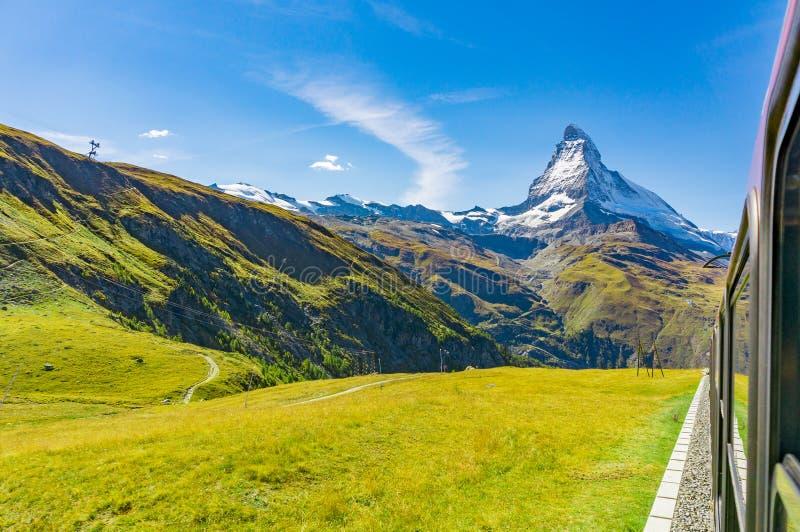 Matterhorn from the train window, Switzerland royalty free stock photography