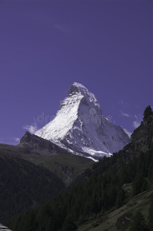 Matterhorn from Valley stock photos