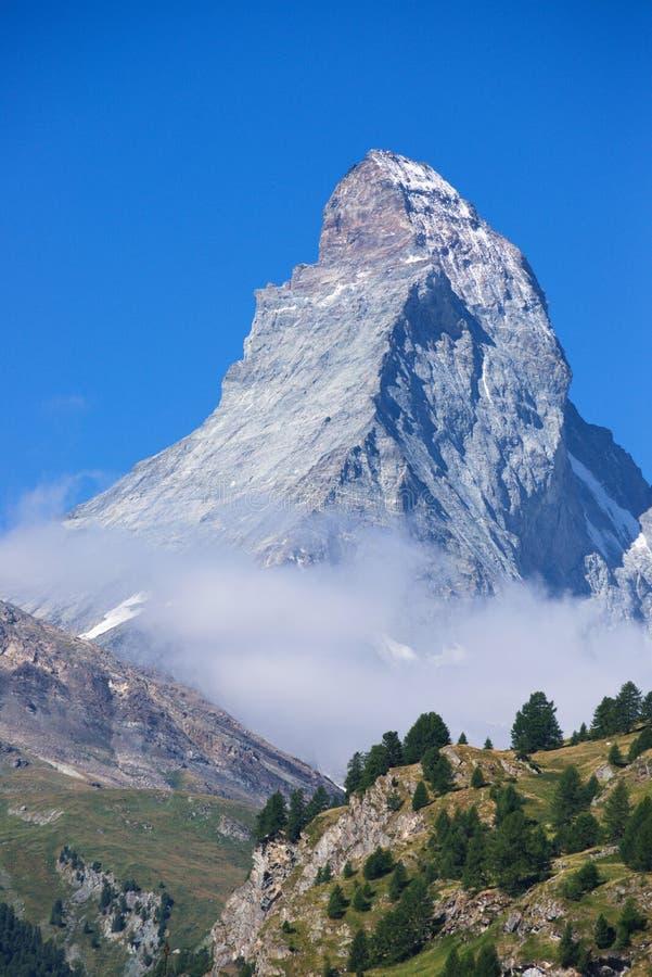 Matterhorn. View of Matterhorn from the center of Zermatt stock photography
