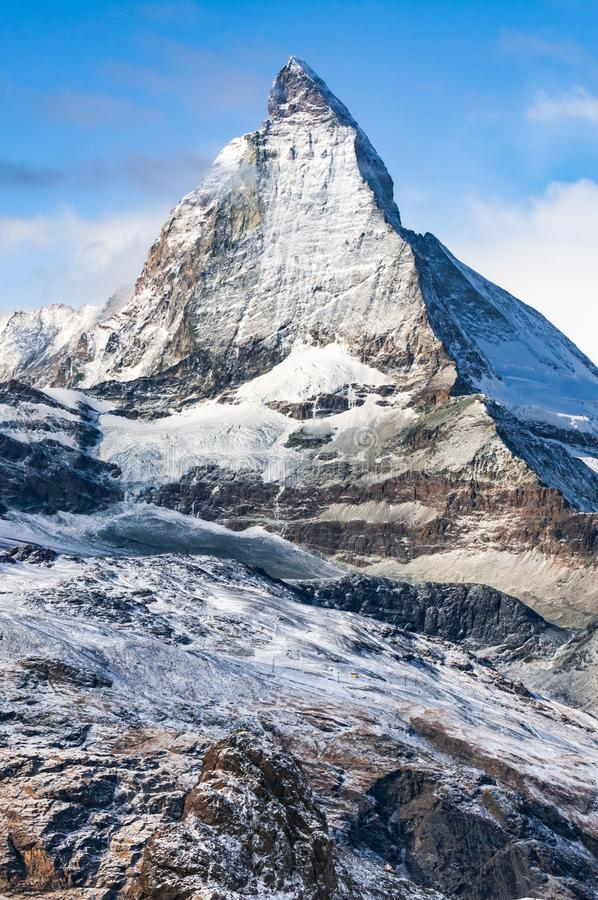 Matterhorn view from Gornergrat, Swiss Alps, Zermatt, Switzerland. View of Matterhorn mountain taken from Gornergrat, Swiss Alps, Zermatt, Switzerland royalty free stock photos
