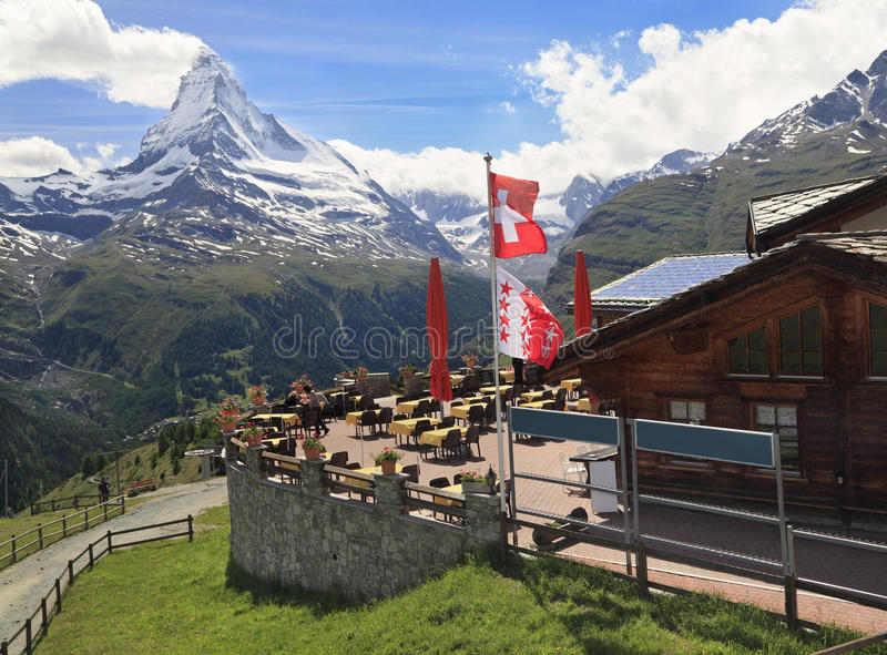 Matterhorn, vista do paraíso de Sunegga, suíço fotos de stock royalty free