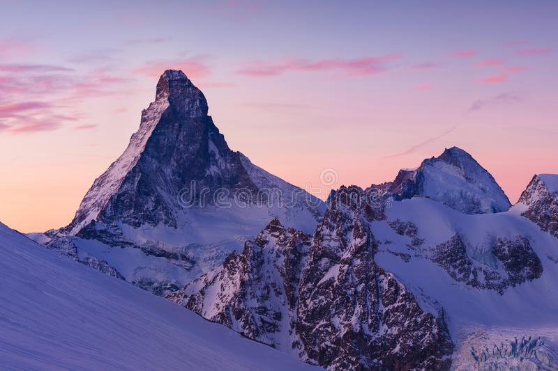 Matterhorn during winter. It is a mountain of the Alps, straddling the main watershed and border between Switzerland and Italy. royalty free stock photography