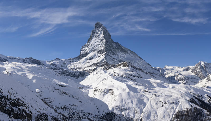 Matterhorn in winter. Views of the Matterhorn and the ski slopes in winter stock photos