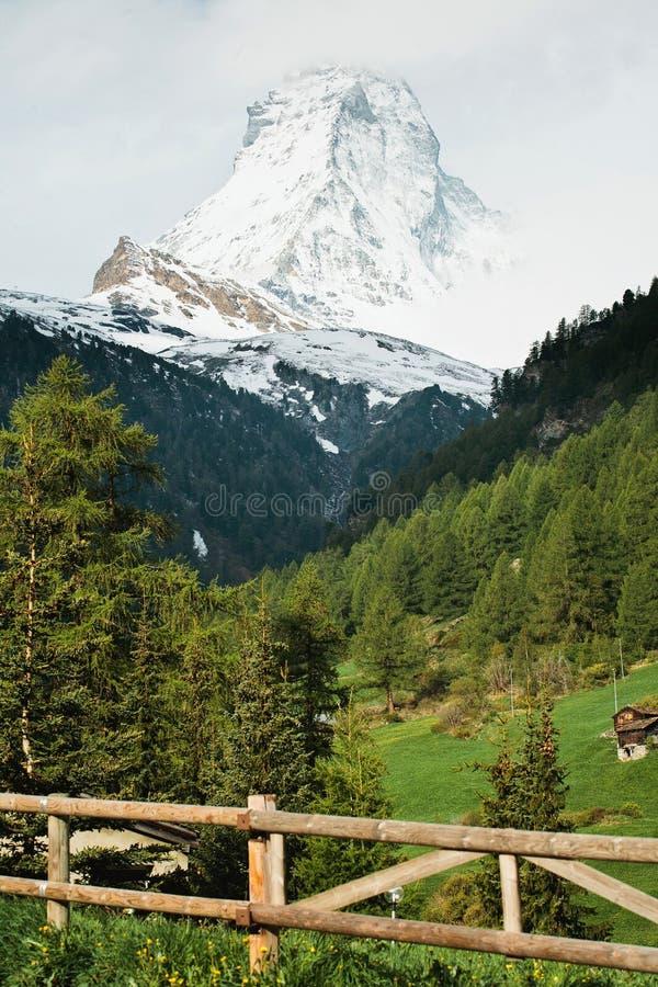 Matterhorn from Zermatt, Switzerland stock photo