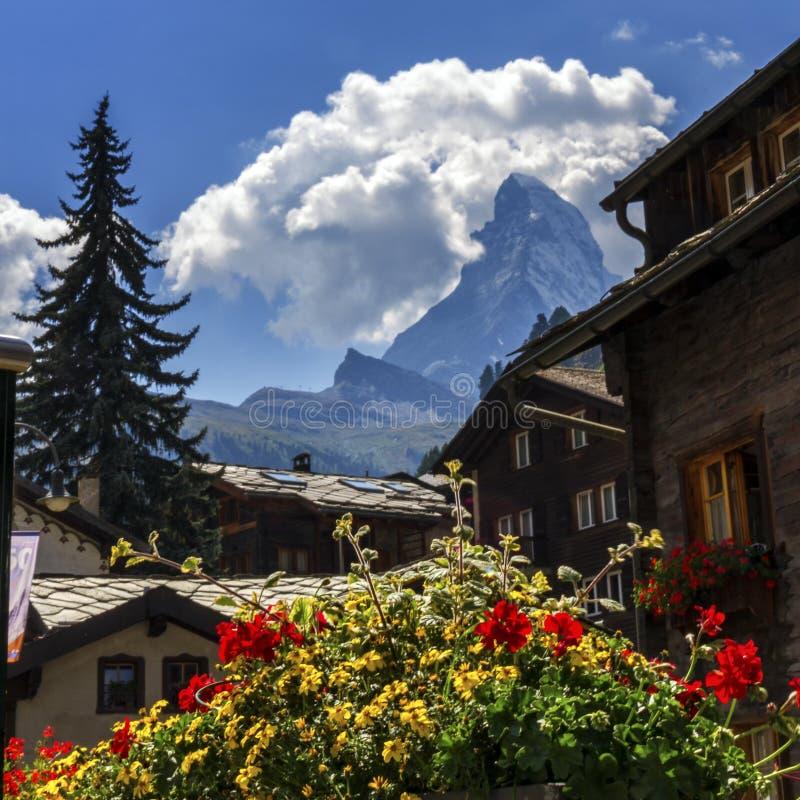 Matterhorn and Zermatt village houses, Switzerland royalty free stock photo