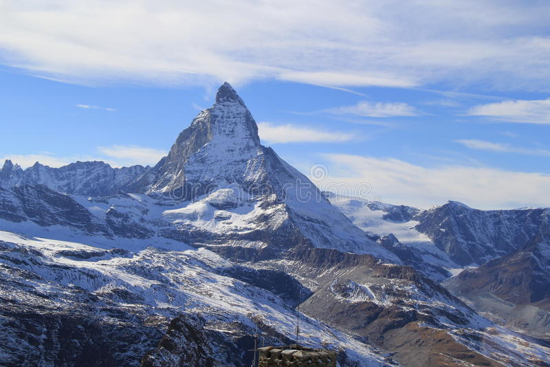 Matterhorn in Zermatt, Zwitserland stock foto