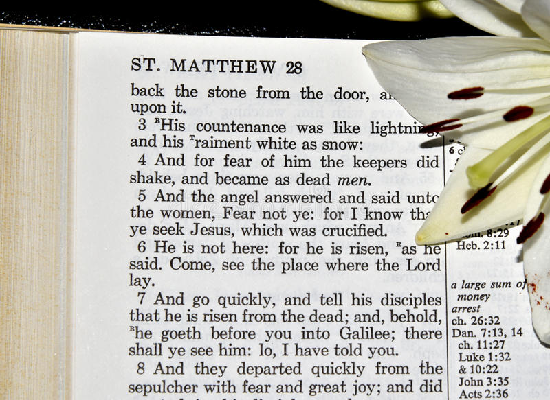 Matthew-28:5 lizenzfreie stockbilder
