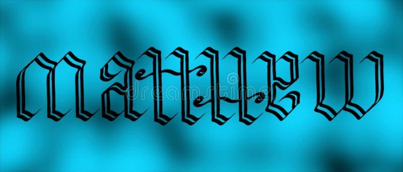 Matthew-ambigram stockfotos