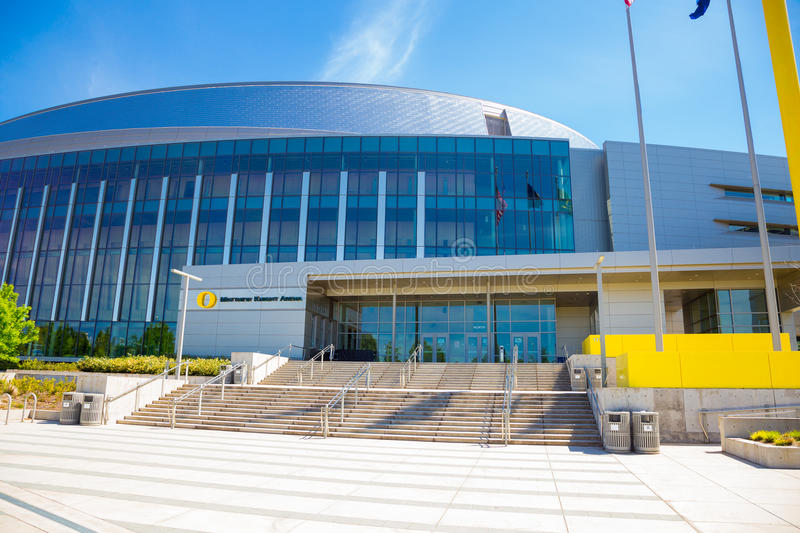 Matthew Knight Basketball Arena bij de Universiteit van Oregon stock afbeelding