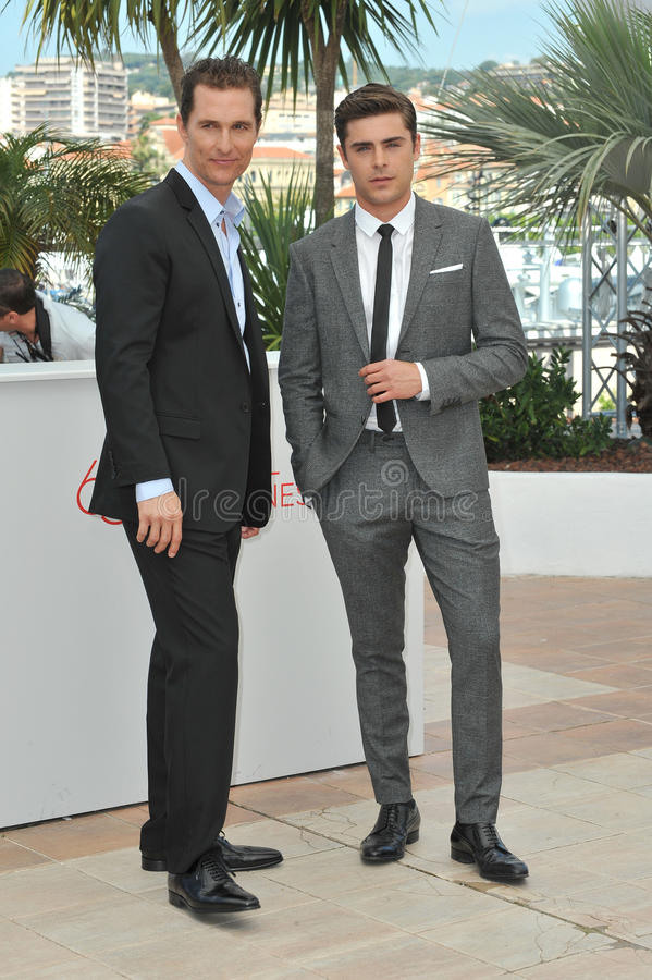 Matthew McConaughey & Zac Efron. (right) at the photocall for their new movie The Paperboy in competition at the 65th Festival de Cannes. May 24, 2012 Cannes royalty free stock photos
