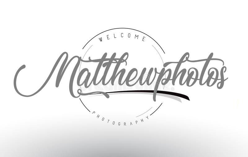Matthew Personal Photography Logo Design avec le photographe Name illustration stock