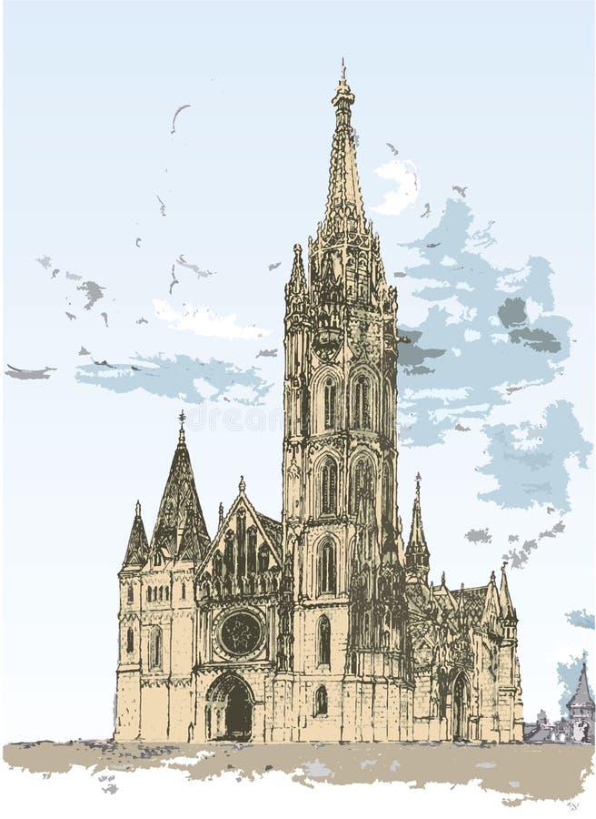 Matthias Cathedral i Budapest, Ungern stock illustrationer