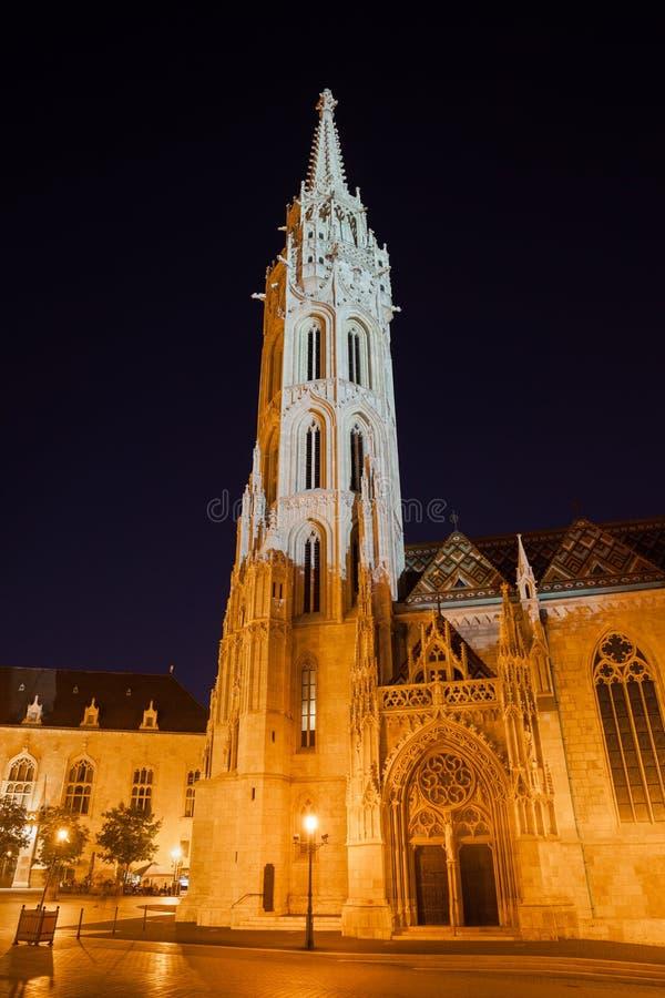 Matthias Church in Budapest Illuminated at Night royalty free stock photo