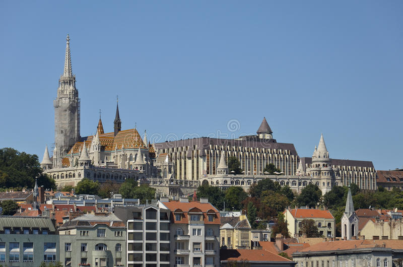 Matthias Church and the Fisherman's Bastion, Budapest. Panoramic view on the church and on the Fisherman's Bastion, Budapest royalty free stock photo