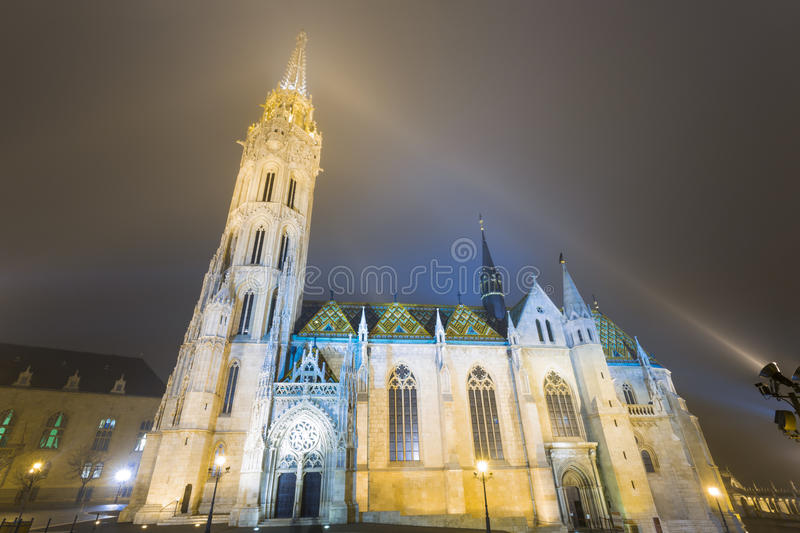 Matthias Church At Night in Buda Castle stock photography
