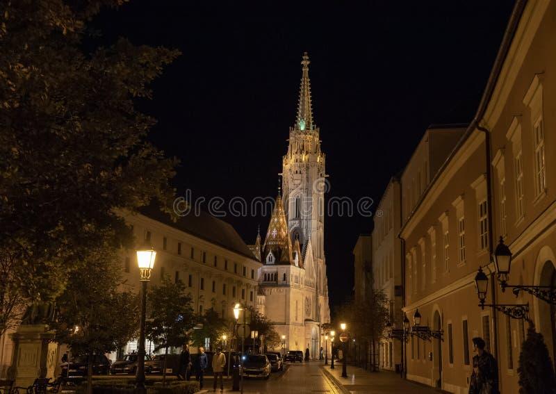 Matthias Church at night, Budapest, Hungary royalty free stock image