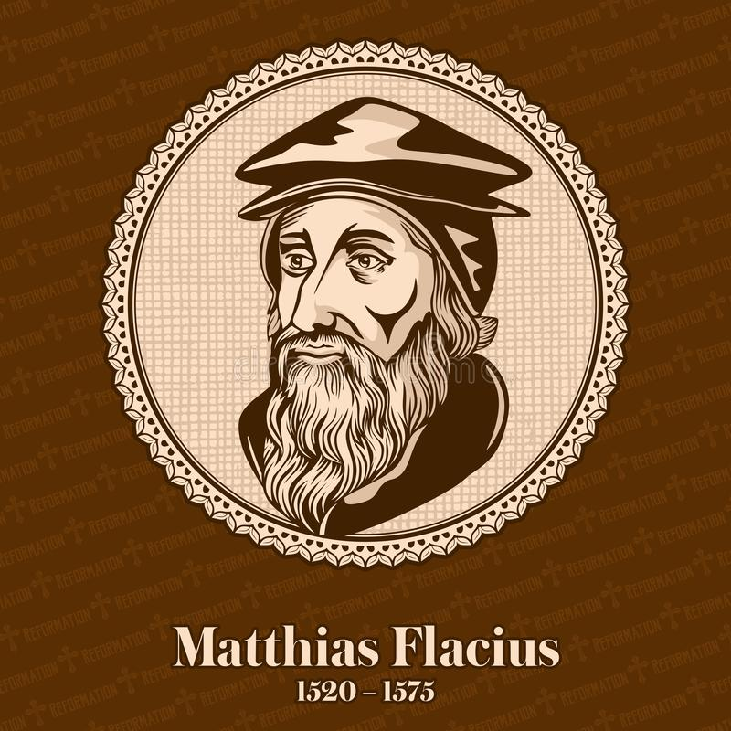 """Matthias Flacius †1520 """"1575 var en Lutheran världsförbättrare från Istria Kristet diagram royaltyfri illustrationer"""