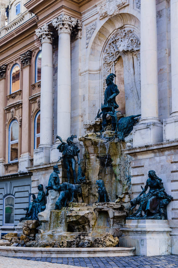 Matthias Fountain in Buda Castle. Famous historic landmark in Budapest, Hungary stock photos