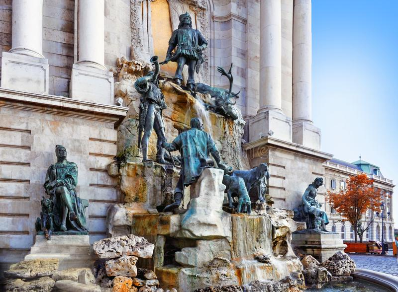Matthias Fountain in the courtyard of the Buda Castle. Famous historic landmark in Budapest - Matthias Fountain in the courtyard of the Buda Castle. Hungary royalty free stock images