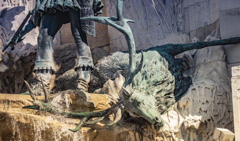 Matthias Fountain em Buda Castle, Budapest, Hungria foto de stock