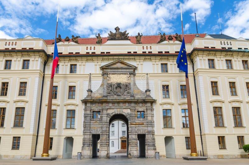 Matthias Gate of New Royal Palace Novy kralovsky palac and EU and Czech flags at flagpole in Prague Castle. Hradcany, Lesser Town Mala Strana district, Bohemia stock photography