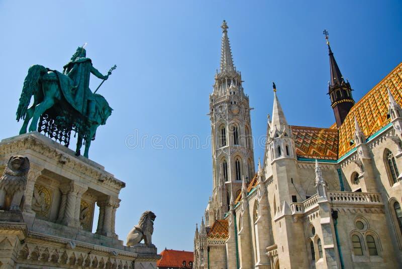 Matthias-Kirche, Denkmal Str.-Stephen I, Budapest stockfotos