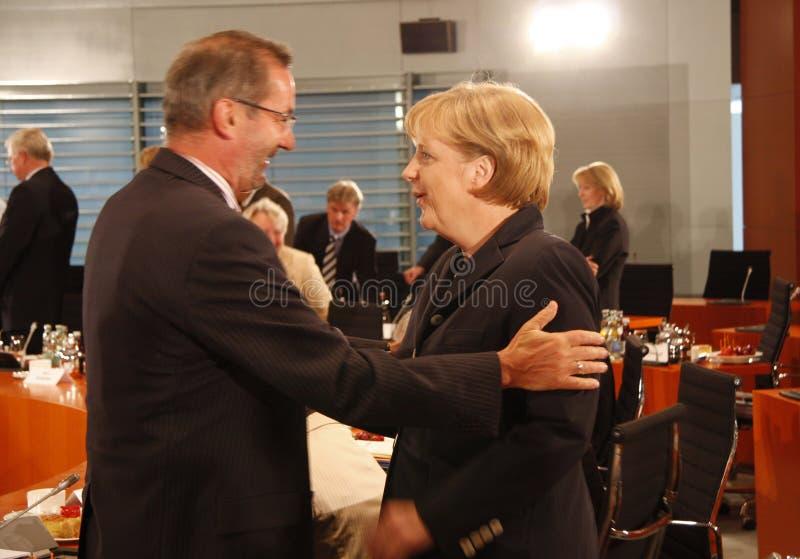 Matthias Platzeck, Angela Merkel lizenzfreie stockfotografie