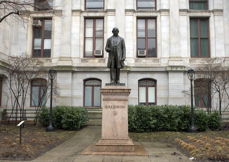 Matthias William Baldwin bronsstaty, stadshus, Philadelphia, Pennsvlvania arkivbild