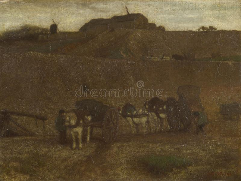 Matthijs Maris - män som lastar av vagnar, Montmartre royaltyfria bilder