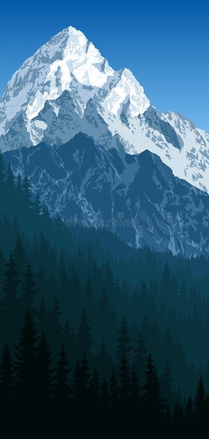Mattina blu di vettore in montagne rocciose del terreno boscoso di inverno royalty illustrazione gratis