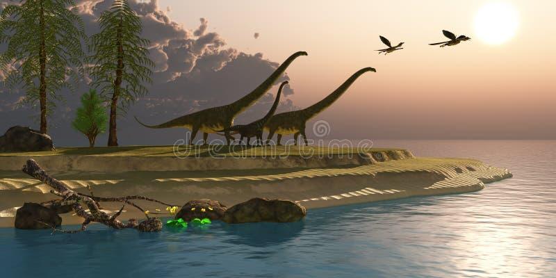 Mattina del dinosauro del Mamenchisaurus illustrazione vettoriale